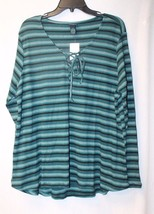 New Womens Plus Size 3X Teal Aqua Striped Lace Tie Up Front Yoke Shirt Top - $15.47