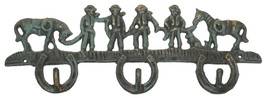 CAST IRON Cowboys & Horses 3-Hooks Hanger Wall Mount Western Decor - $16.82