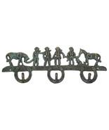 CAST IRON Cowboys & Horses 3-Hooks Hanger Wall Mount Western Decor - $16.82