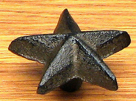 Set of 12 Cast Iron Solid Star Drawer Pulls, Cabinet Knobs Western Decor - $32.66