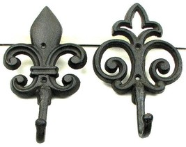 Fleur De Lis Set of 2 Cast Iron Wall Hooks  - $12.86