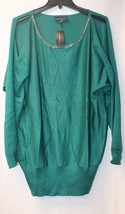 NEW LANE BRYANT WOMENS PLUS SIZE 26W 28W EMERALD GREEN COLD SHOULDER SWE... - $23.21