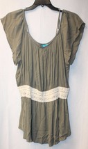 New Womens Plus Size 2X Olive Green Stretchy Boho Peasant Shirt Top W Crochet - $9.74