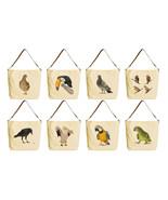 Women Wild Birds Beige Print Canvas Tote Bag wi... - $22.58