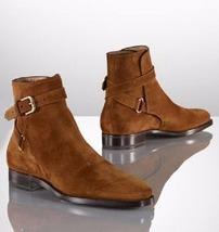 Handmade Men Brown Jodhpurs Ankle Boot, Men Genuine Suede Boots, Mens Boot - $174.99