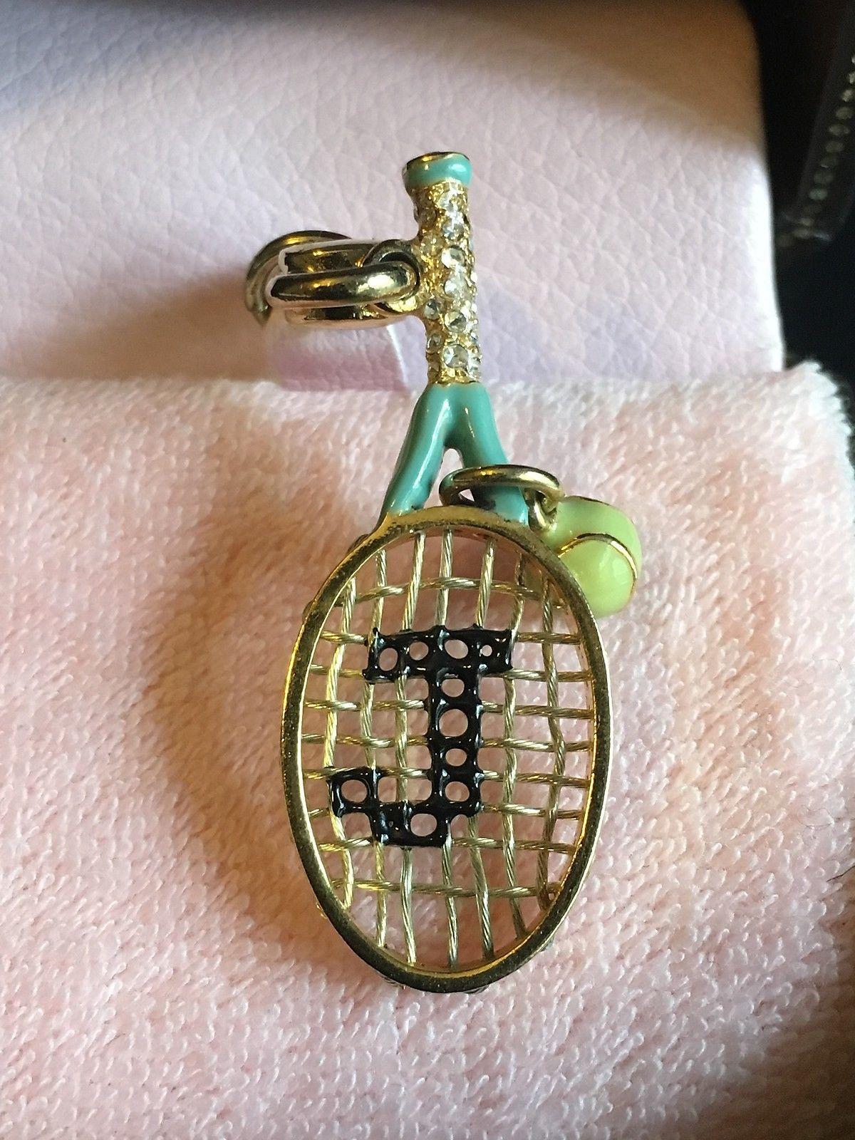 Juicy Couture Tennis Racket & Ball Aqua Bracelet Charm New YJRU2847