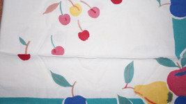 Colorful Vintage 50s Cotton Cherries Fruit Tablecloth Pears Apples Grapes Peach image 3