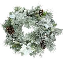 """Snowy Xmas Wreath 30"""" White Flocked Poinsettia ... - $39.34"""