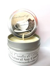 Coffee (Fresh Brewed) 4oz All Natural Soy Candle Tin Approximate Burn Ti... - £4.27 GBP