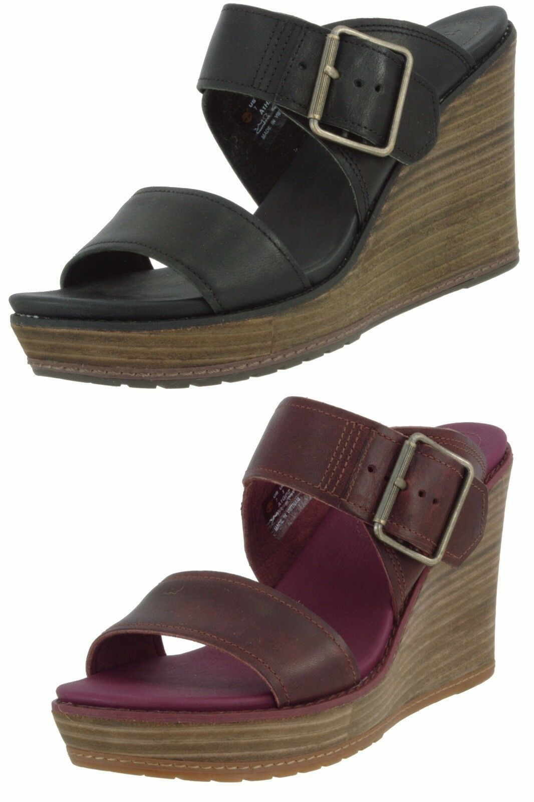 Primary image for TIMBERLAND SAMPLE WOMEN'S BRENTON BUCKLE SLIDEWEDGE SANDALS US 7 EU 38