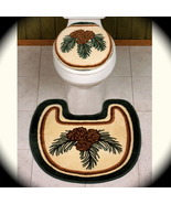 Lodge Toilet Lid Cover & Rug Bath pine boughs p... - $22.99