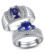 Sterling Silver His Simulated Tanzanite Band Hers Blue Sapphire Wedding Ring Set - $48.00