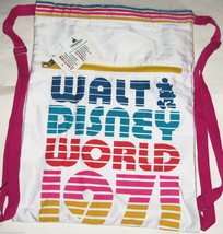 Disney World Cinch Sack Tote 1971 Mickey Mouse Rainbow Colors New - $39.95