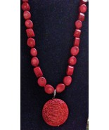 LUC LENA ULRICH CARLSSON 925 SILVER NECKLACE RED BEADS DRAGON MEDALLION ... - $159.95
