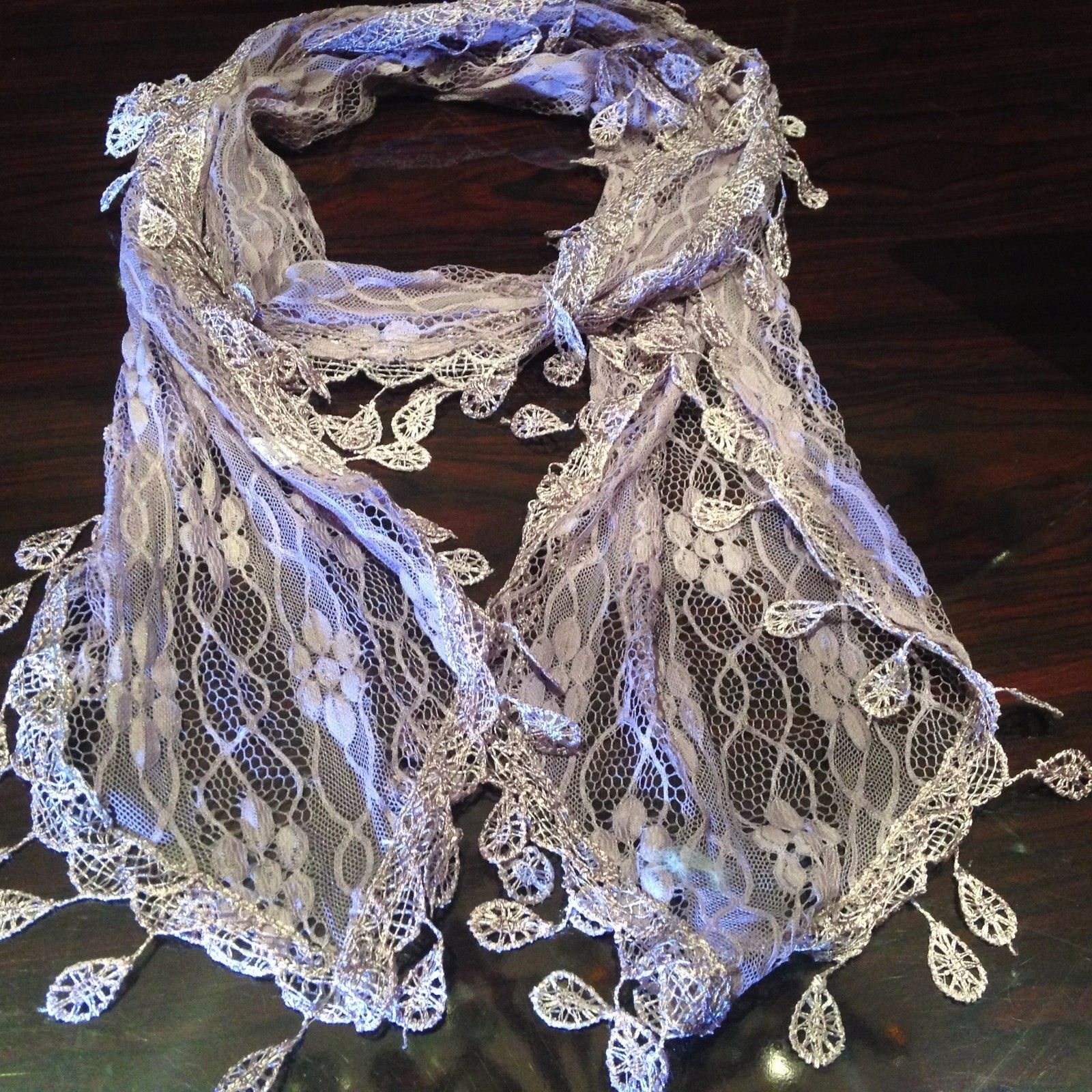 Primary image for Nemesis Vintage Victorian Style Antique Lace Style Lavender Scarf Wrap