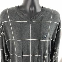 Nautica Vintage Golf Sweater V-Neck XXL Gray White Stripes Logo Shield H... - $30.60