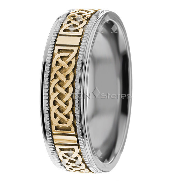 14K Gold Mens Celtic Knot Wedding Bands Mans Celtic Wedding Rings Gold Band Ring