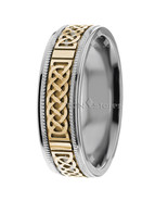 14K Gold Mens Celtic Knot Wedding Bands Mans Celtic Wedding Rings Gold B... - $631.28