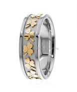 Irish Clover Celtic Wedding Bands Rings Mens Womens 18K Gold Celtic Wedd... - $768.54