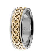 18K Solid Gold Two Tone Celtic Wedding Bands Rings Mens Womens Celtic Ba... - $777.69