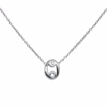Silver Cancer Necklace, 925 Sterling Silver Necklace, Zodiac Symbol Horo... - $18.00