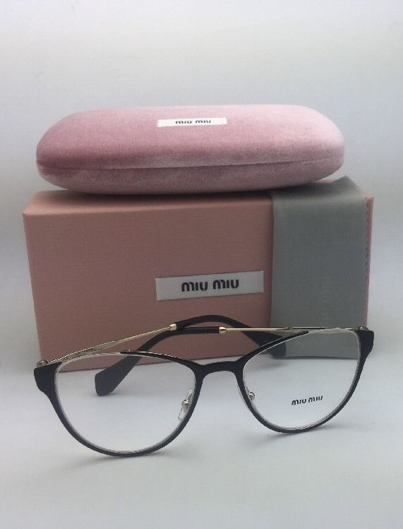 New MIU MIU Eyeglasses VMU 51O QE3-1O1 53-19 140 Black & Gold Cat Eye Frame
