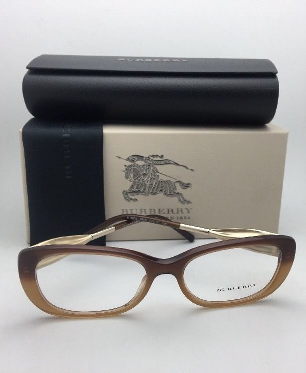 New BURBERRY Eyeglasses B 2203 3369 54-17 135 Brown Fade To Amber & Gold Frame