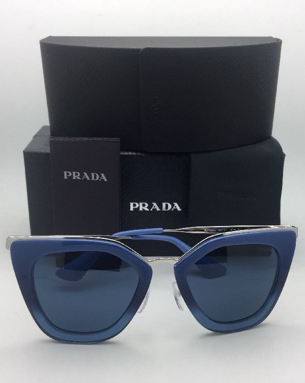 New PRADA Sunglasses SPR 53S UFW-1V1 52-21 Blue Gradient & Silver Frame w/ Blue