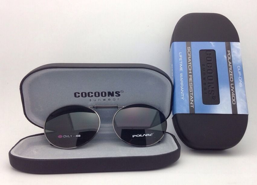 COCOONS Grey Polarized Sunglasses/Eyeglasses Over Rx Clip-on OVL 1-48 Gunmetal