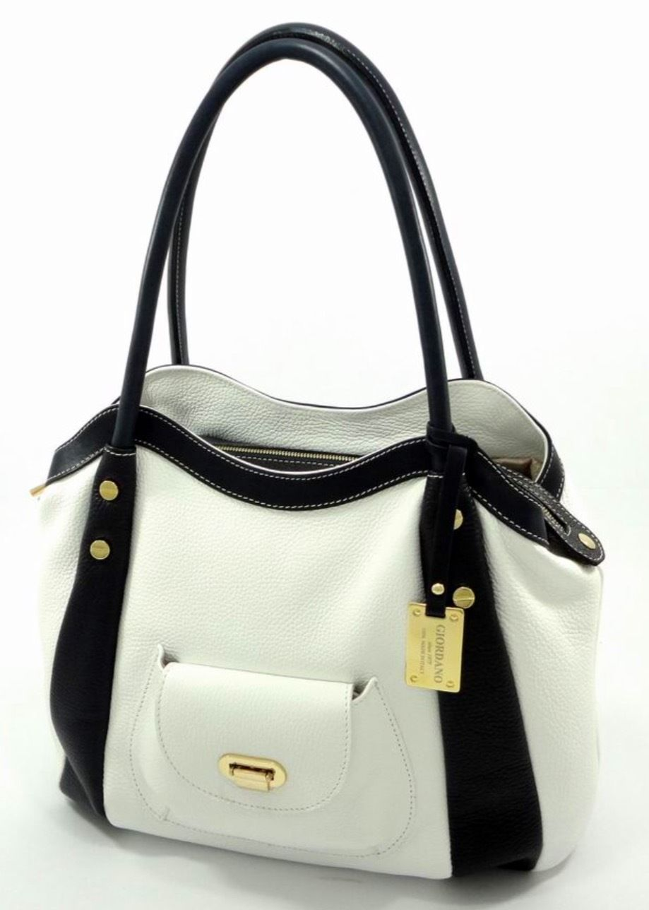 Giordano Made in Italy Black and White Pebbled Leather Satchel Shoulder Bag