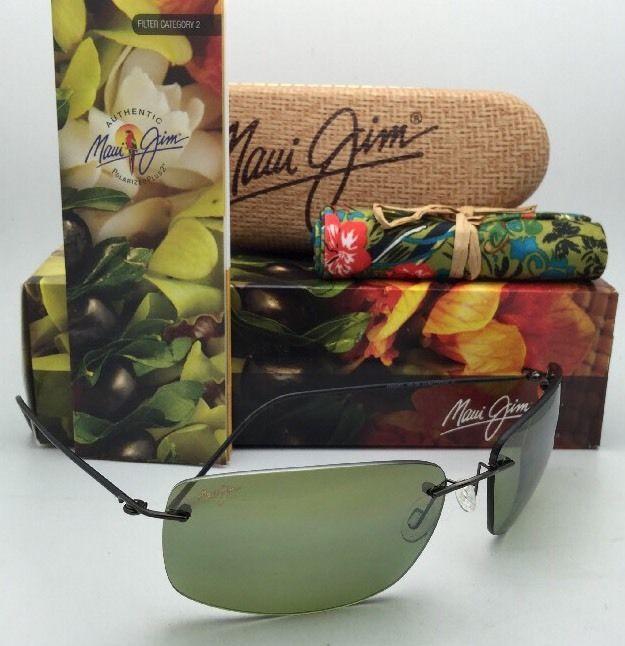 Rimless MAUI JIM Sunglasses FRIGATE HT 716-02D Drk Gunmetal w/ Polarized Maui HT