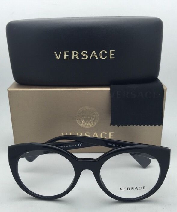 New VERSACE Rx-able Eyeglasses 3217 GB1 51-19 140 Black Frames w/ Clear Lenses