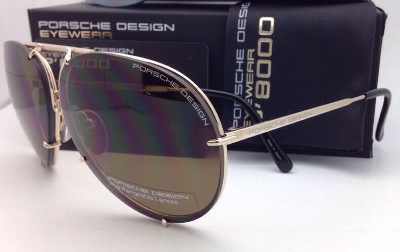 PORSCHE DESIGN Titanium Aviator Sunglasses P'8478 60-10 A-Gold with 2 Lens Sets
