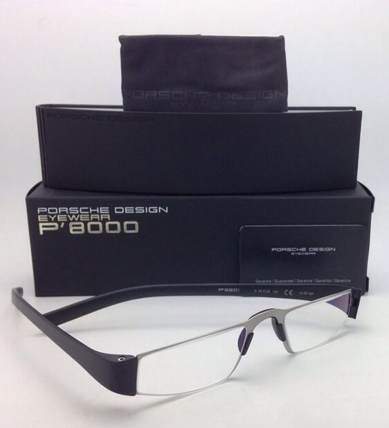 New Reader! PORSCHE DESIGN Eyeglasses P'8801 A 48-20 +2.50 Silver Black Readers
