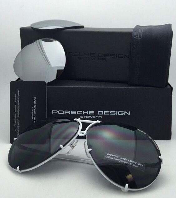 PORSCHE DESIGN Titanium Aviator Sunglasses P'8478 P 69-10 White w/ 2 Lens Sets