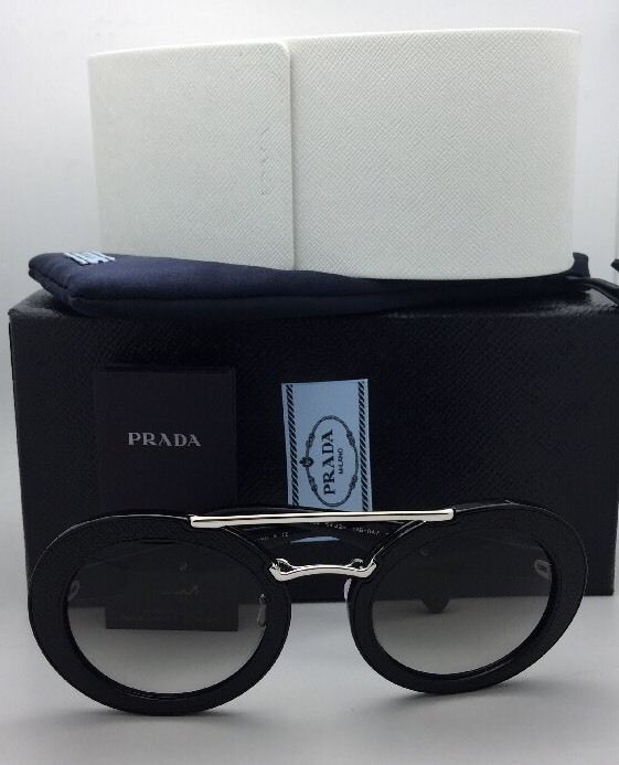 New PRADA Sunglasses SPR 15S 1AB-0A7 Black Leather & Silver Frame w/ Grey Fade