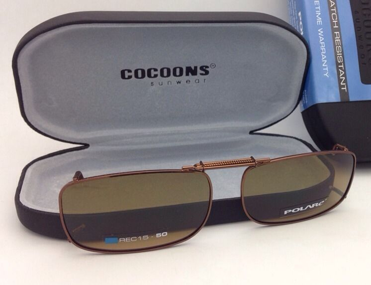 COCOONS Amber Polarized Sunglasses/Eyeglasses Over Rx Clip-on REC 15-50 Bronze