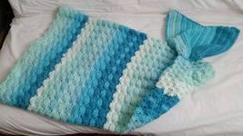 "Mermaid Tail Blanket Teen Child Novelty Blue & Green 23"" X 34"" Warm & Fun - $45.00"