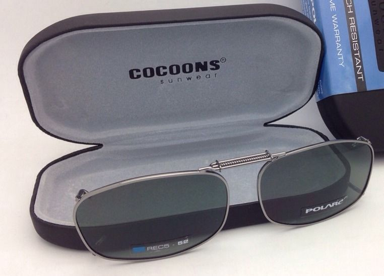 COCOONS Grey Polarized Sunglasses/Eyeglasses Over Rx Clip-on REC 5-52 Gunmetal