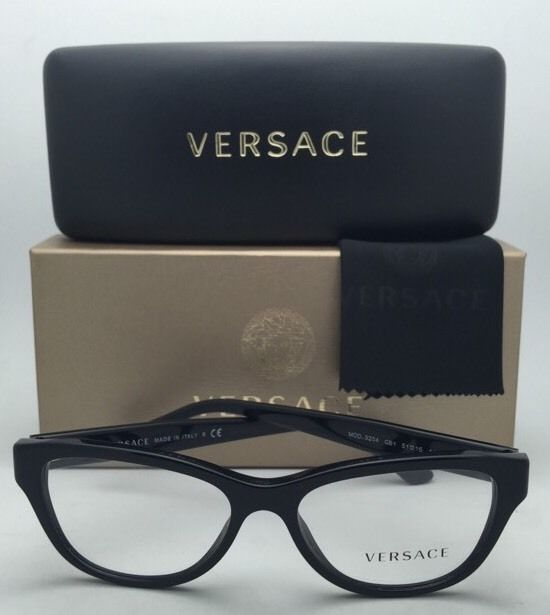 New VERSACE Rx-able Eyeglasses 3204 GB1 51-15 140 Black Frames w/ Clear Lenses