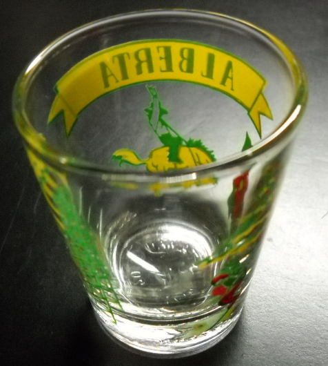 Alberta Canada Shot Glass Calgary Stampede Mountains Oil Agriculture Yellow Red