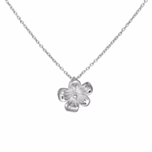 Tiny Silver Flower Pendant Necklace, 925 Sterling Silver Flower Pendant ... - $17.00