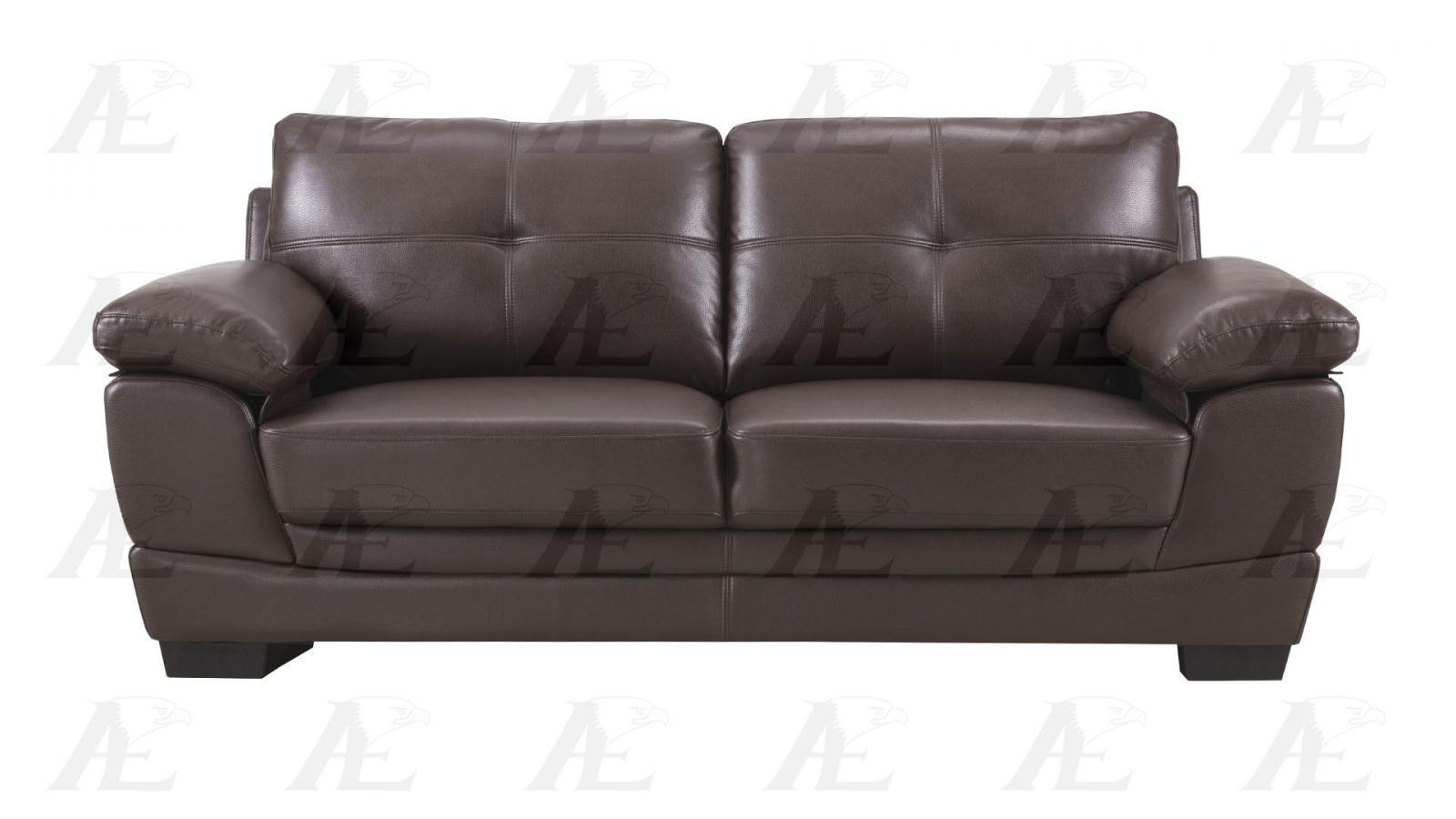 American Eagle AE509-DB Dark Brown Sofa Leather Air Fabric Modern