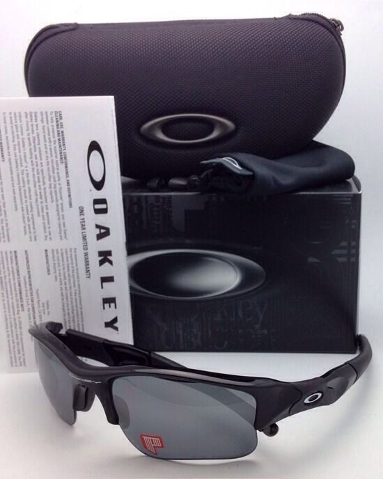 Polarized OAKLEY Sunglasses FLAK JACKET XLJ 12-903 Black w/ Black Iridium Lenses