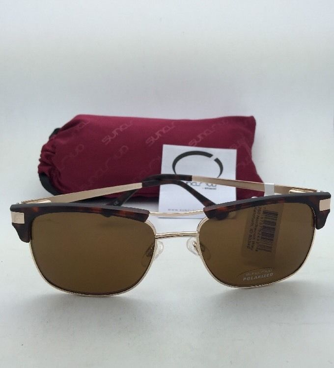 New SUNCLOUD POLARIZED OPTICS Sunglasses MOTORWAY Tortoise & Gold Frame w/ Brown