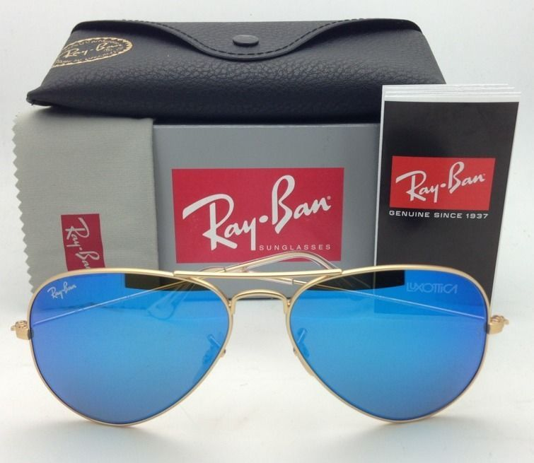 Ray-Ban Aviator Sunglasses RB 3025 112/17 55-14 Gold Frame w/ Multi-Blue Mirror