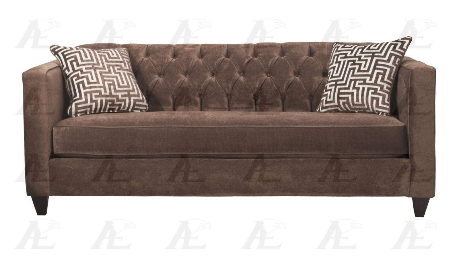 American eagle ae2602 br brown fabric tufted sofa for Brown fabric couch
