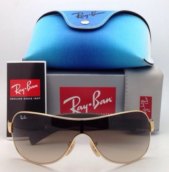1ba7d80424 New RAY-BAN Sunglasses RB 3471 001 13 Gold   Brown Shield Frame Gradient
