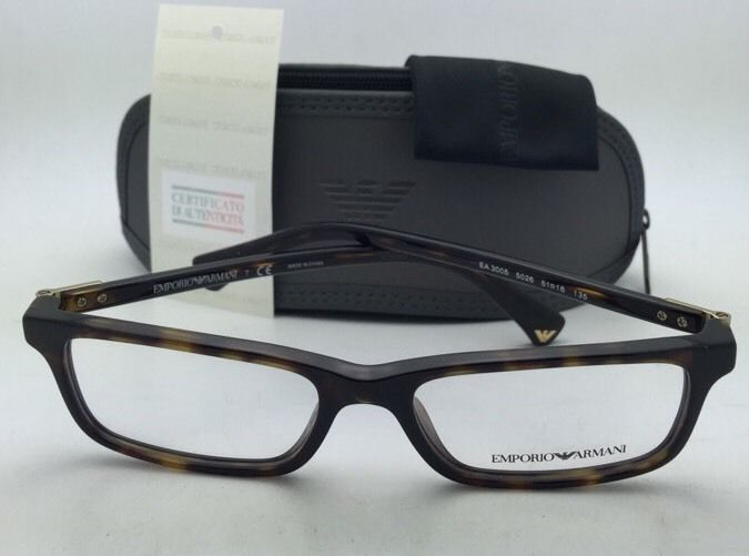 f3e8614ceee New EMPORIO ARMANI Eyeglasses EA 3005 5026 51-16 Tortoise Havana Frames w   Clear