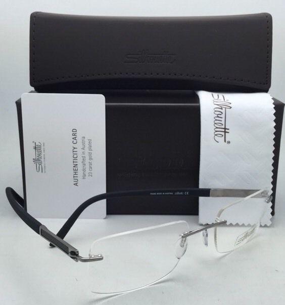 SILHOUETTE Eyeglasses CARBON INTARSIA 5402 60 6052 23K Gold Plated Grey & Black